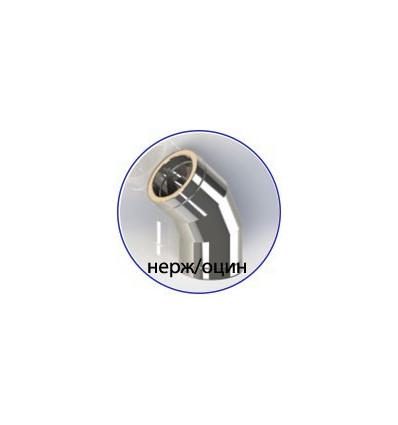 Колено (отвод) нержавеющее утепленное в оцинкованом кожухе (AISI 321)